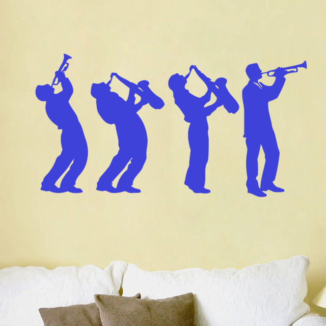 Musician Wall Stickers Music Group Art Design Boys Playing Saxophone ...