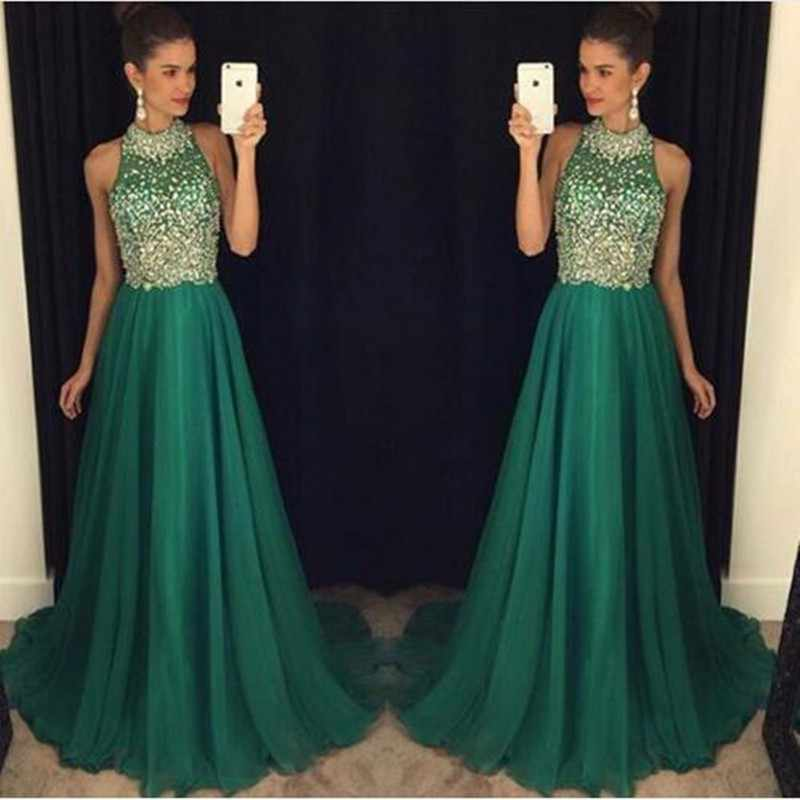 Vestido longo New Fashion 2017 Prom Dresses High Neck Sleeveless A-Line Floor Length Stones Chiffon Evening Dresses