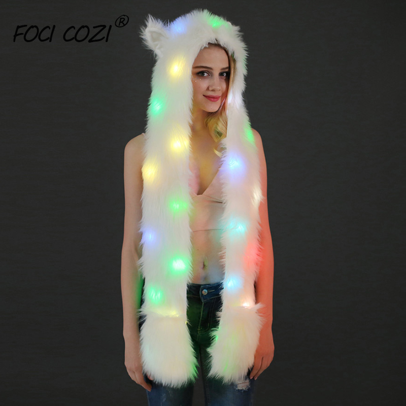 LED Light Faux Fur Animal Hat Scarf Gloves Mittens 3in1 Function Furry Hoodie Headwear With Paws Ears For Festival Party Cosplay