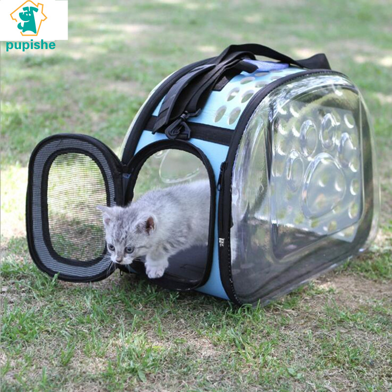 PUPISHE Pet Sided Carrier for Dogs Cats Travel Bag Folding Carrier Cage Collapsible Crate Tote Handbag Potable Tools