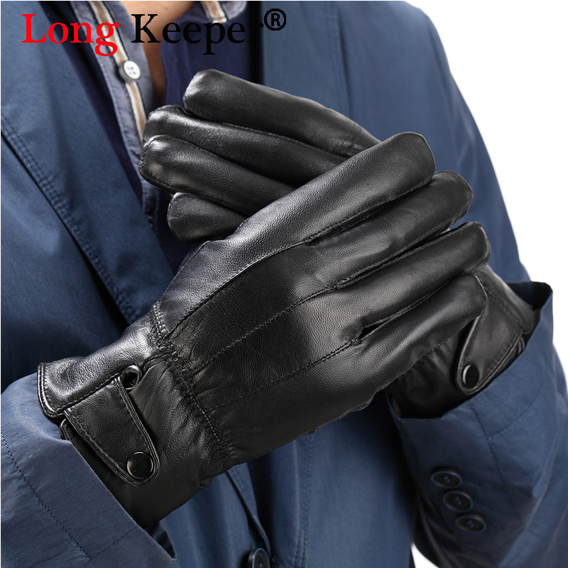 Long Keeper Mr Right Genuine Leather Gloves High Quality 2018 Man Winter Windproof Luva Full Finger Glove Keep Warm Guantes