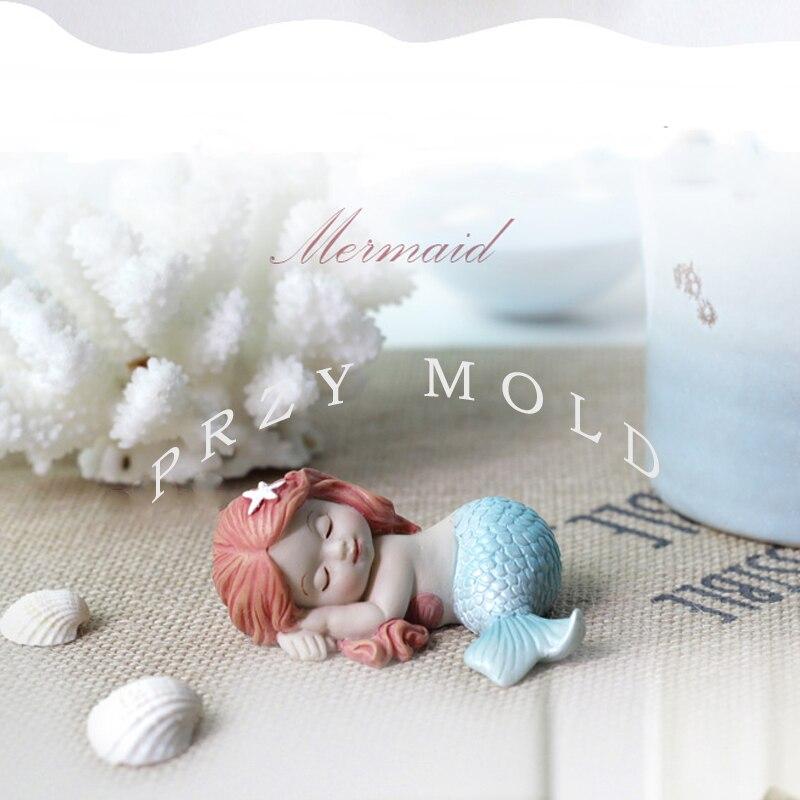 Silica gel silicone mold Mermaid wedding birthday fondant cake decoration cute dream sea mermaids mould for cake decorations