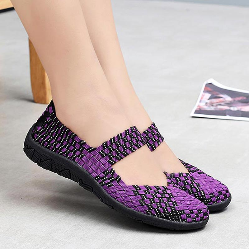 Woven Slip-on Women's Sports Shoes Summer Gym Shoes Women Mesh Sneakers For Women Light Weight Running Shoes Sport Purple B-337