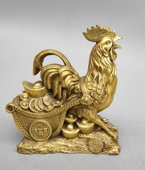 China's Seiko carving pure brass cock pull coin cart wealth statue