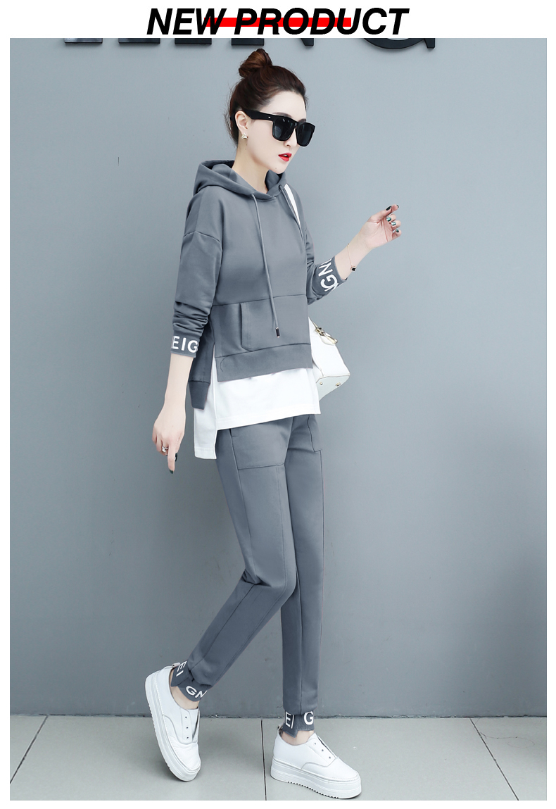 Autumn Sport Two Piece Sets Tracksuits Outfits Women Plus Size Hooded Sweatshirts And Pants Korean Casual Fashion Matching Sets 57