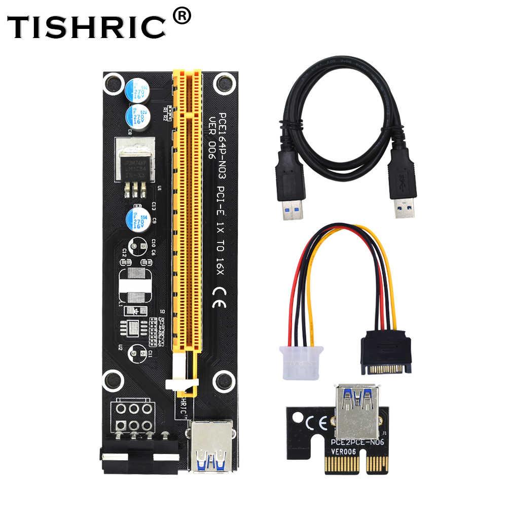 TISHRIC Siyah 60 cm PCI-E genişletici PCI Express Yükseltici Kartı 1x ila 16x USB 3.0 SATA 4Pin IDE Molex güç için BTC Madencilik Madenci