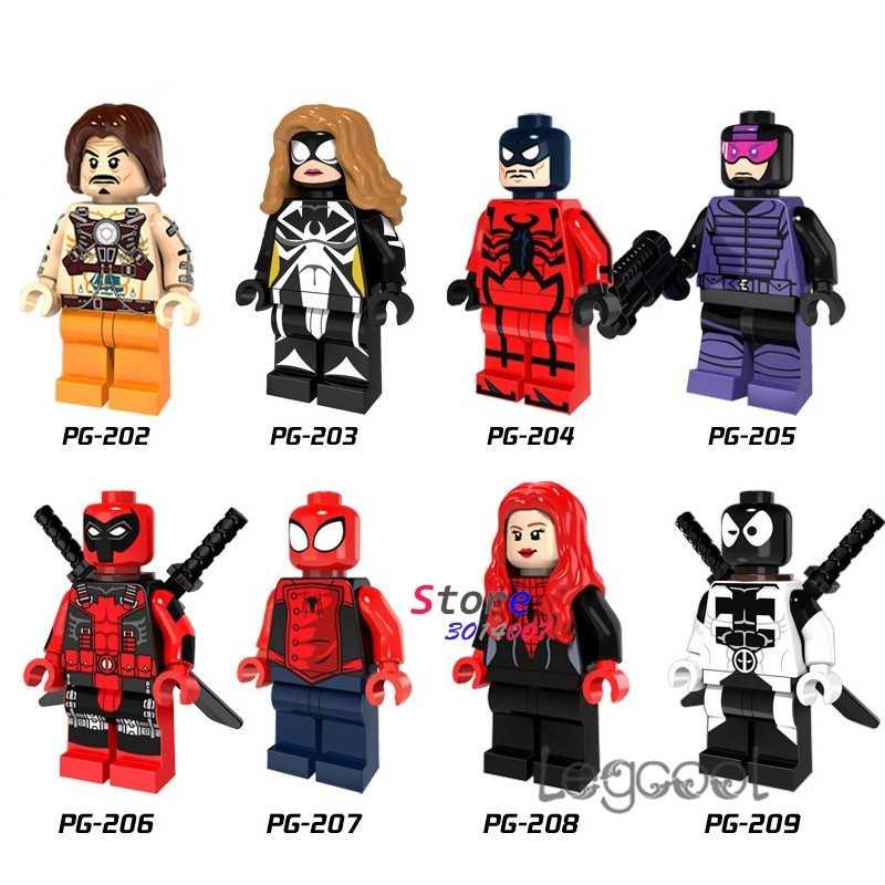 1PCS blocchi di costruzione di modello supereroe Colpo di Frusta Nero Ragazza del Ragno Lupo Spiderman Paladin Venom Deadpool giocattoli fai da te per il regalo dei bambini