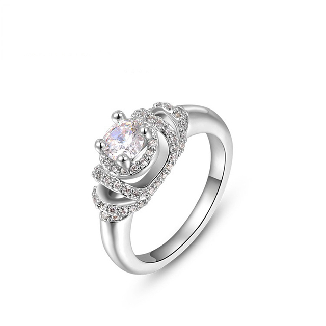 Queen Style Thick White Gold Plating Wedding Rings Clear Aaa Zirconia Shiny And Best Quality