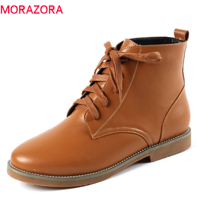 MORAZORA 2018 new fashion shoes woman ankle boots genuine leather autumn booties lace up comfortable low heels shoes woman fedonas 2018 new women genuine leather casual shoes low heels comfortable lace up loafers brand design spring shoes woman