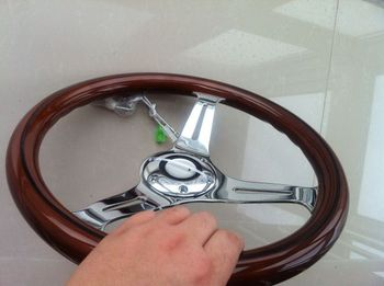 wood steering wheel 350mm Wood Phoebe steering wheel racing steering wheel three racing Phoebe black line