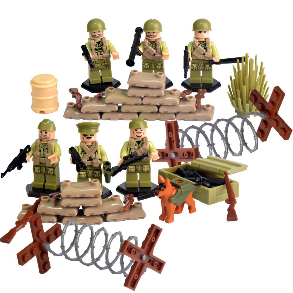 World War II Series Mini Action Figures US Army Blocks with Battlefield Accessories legoing Set Xmas Birthday Toys for Kids sonny angel mini figures easter series 6pcs set toys christmas