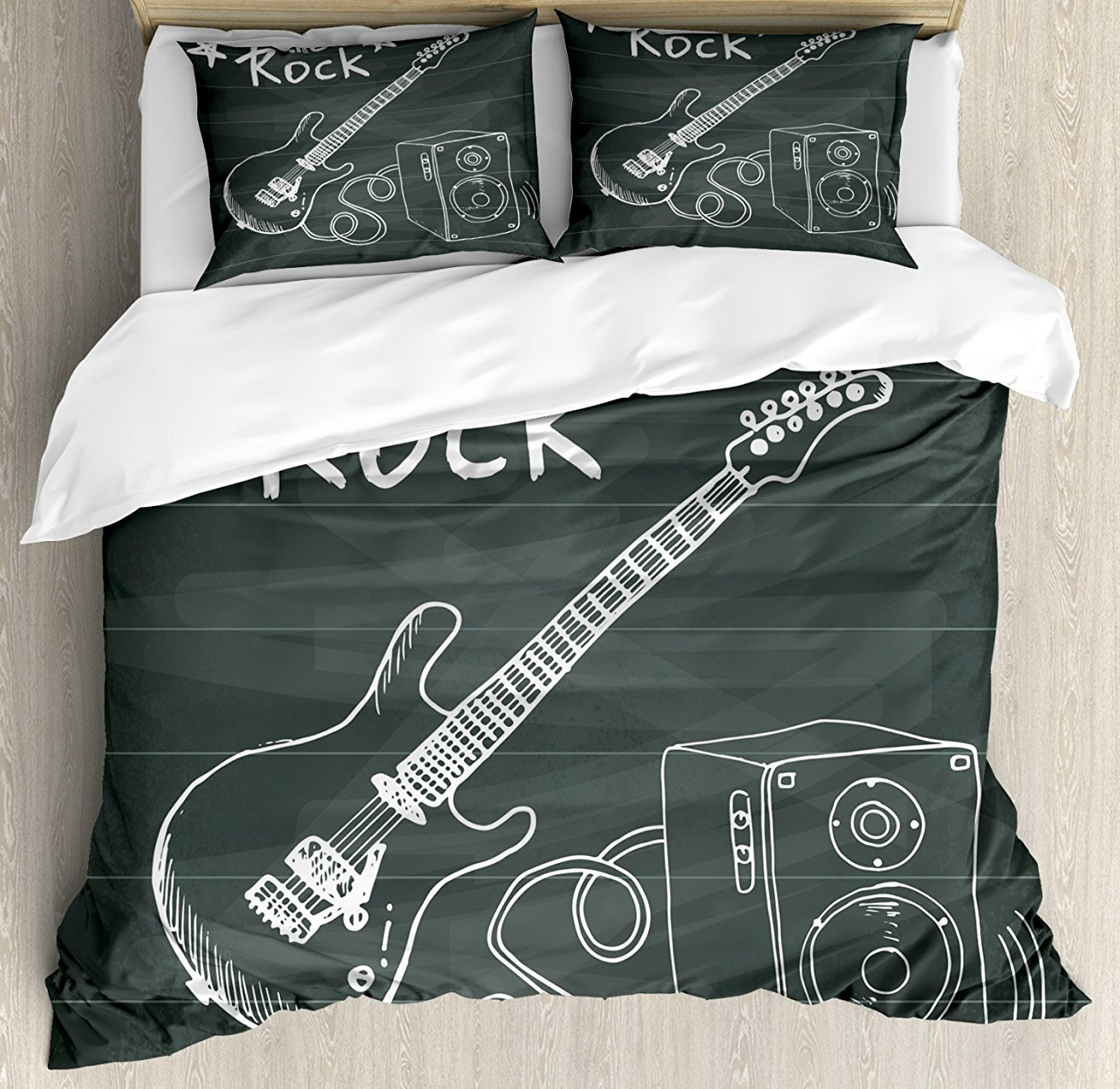 Guitar Duvet Cover Set, Love The Rock Music Themed Sketch Art Sound Box and Text on Chal ...