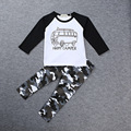 2016 New Cool Military Camouflage Baby Boy Long-sleeve T-shirt +Camouflage Pant 2 Piece Set Children Set H0079