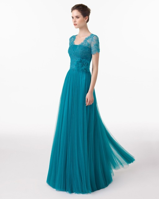New Fashion Elegant Teal Floor Length V back Lace and Tulle ...