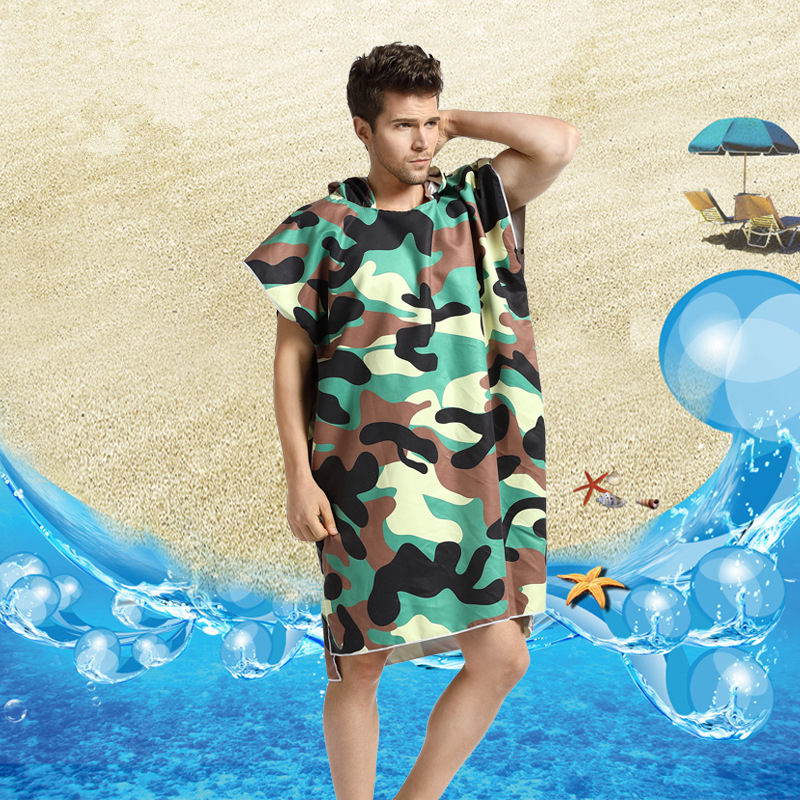Jungle Camouflage Printing Changing Robe Bath Towel Outdoor Adult Hooded Beach Towel Diving Poncho Bathrobe Men Sports Towels in Sport Towels from Home Garden