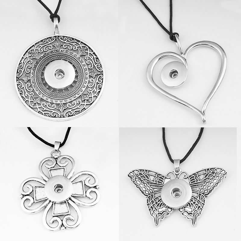 NEW Vintage cross love  flower  butterfly owl DIY 18mm  snap button jewelry  Sweater chain Necklace  NC6051 snap button jewelry