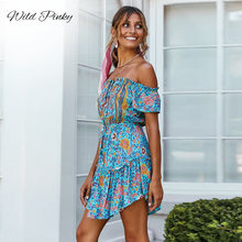 WildPinky Vintage Women Summer Beach Floral Boho Dress Loose Printing Sexy Off the Shoulder Mini Dress female vestidos Bohemia printing off the shoulder flounce dress