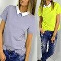 2017 Летний Новый Мода Свободные Элегантный Lovely Женщины Девушки Повседневная Твердые Коротким Рукавом Шифон Топы Рубашка Блузка Свободный Корабль