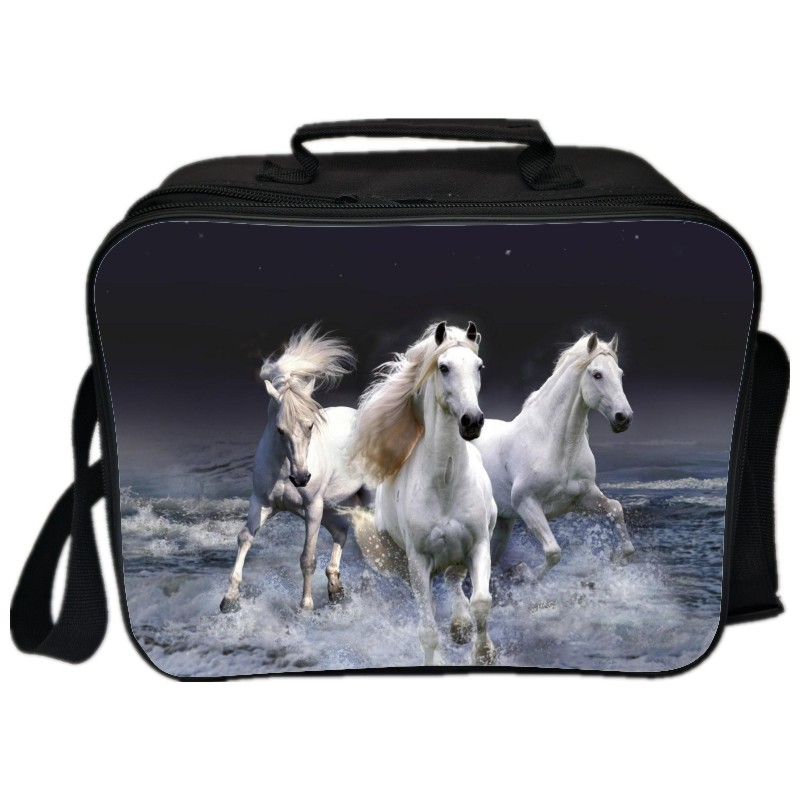 2018 New Style Printing Animal Horse Double Layer Portable Kids Lunch Bag for Children Food Box Cooler Picnic for Women and Men
