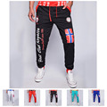 Mens Casual Loose Trousers Flag Pattern Printing Autumn Spell color Pants