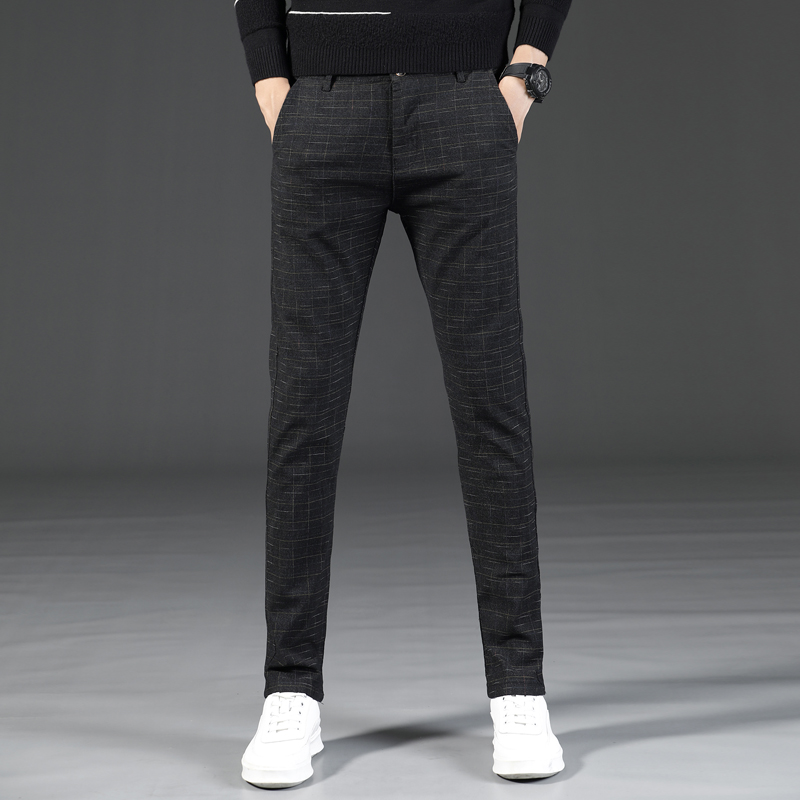 Men 2019 Spring And Summer Fashion Brand Imitation Linen Style Slim Fit Straight Plaid Pants Male Casual Korea Trousers Pants