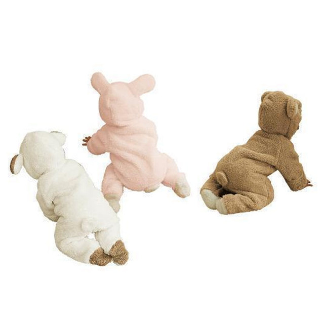 Arrastrándose Ropa Leotardo Bebé recién nacido Espesar Algodón Monos Mono Del Bebé de Invierno de Coral Polar Bebé de Dibujos Animados ropa de Dormir