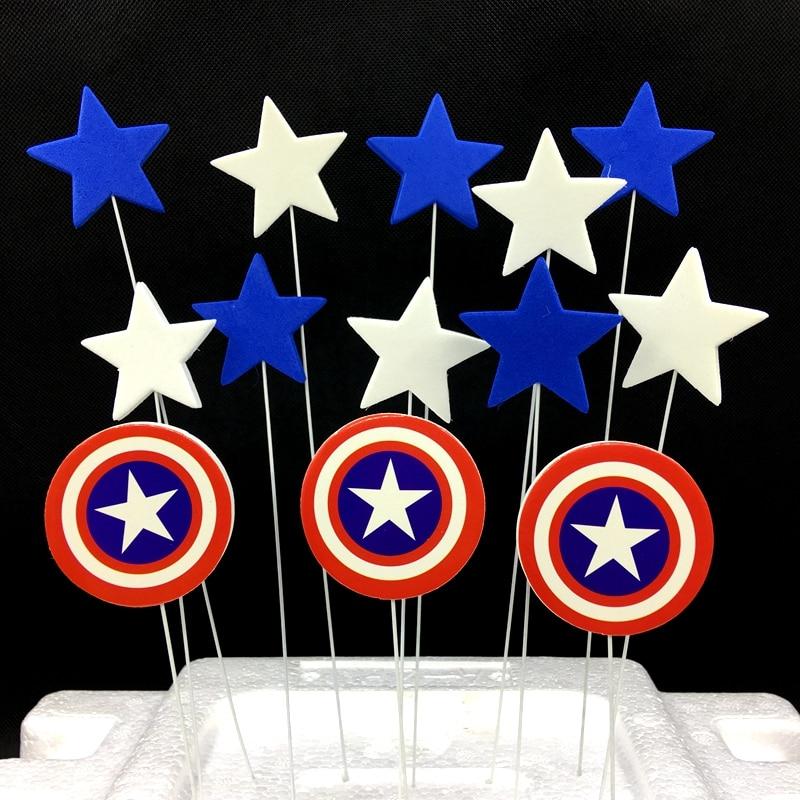 1Set/lot Captain America Protection Shield Stars Cake ...