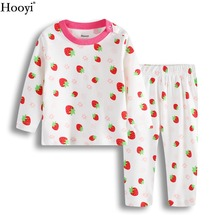 Клубника для маленьких девочек сна Наборы для ухода за кожей модные пижамы для девочек одежда костюм новорожденных футболка Брючный костюм пижамы хлопковые топы От 0 до 2 лет