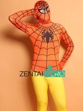 Free Shipping DHL Printing Dipdye Orange And Yellow Spiderman Costume Cosplay Zentai Full Bodysuit 2016 Fancy Costume SPM1457