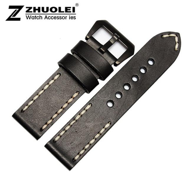Pulseira 22 mm 24 mm linha branca Mens pulseiras de couro faixa de relógio preto