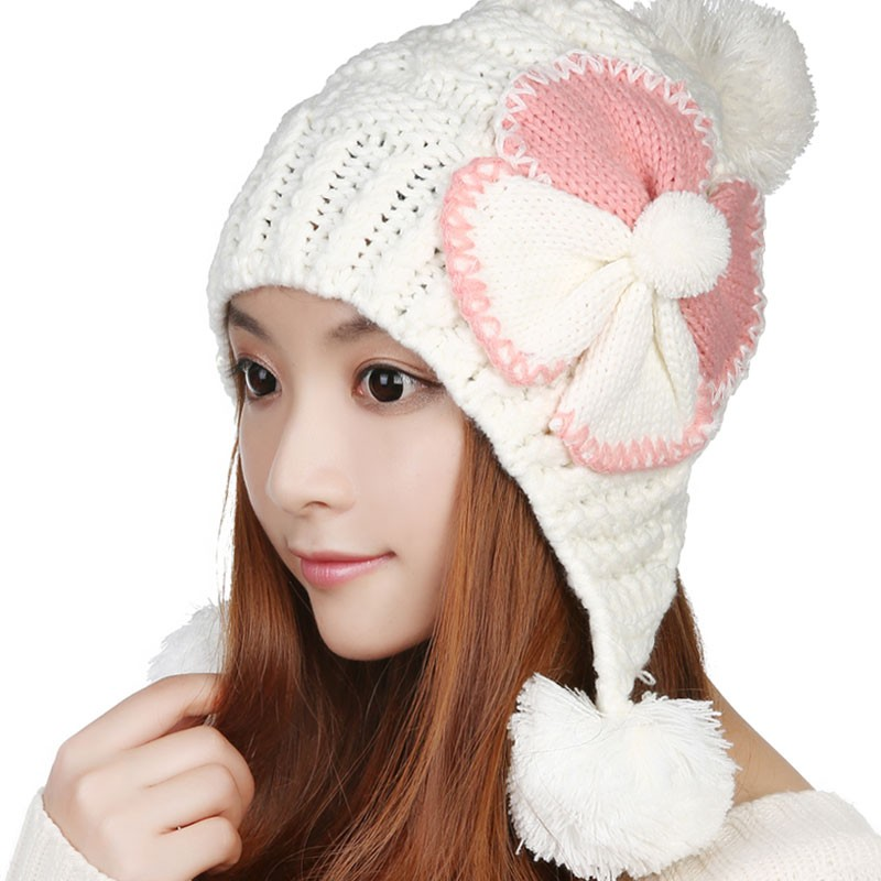 The new autumn and winter wool hat female lovely warm pink / white knit hat ear 2017 new style fashion , free shipping wool felt cowboy hat stetson black 50cm