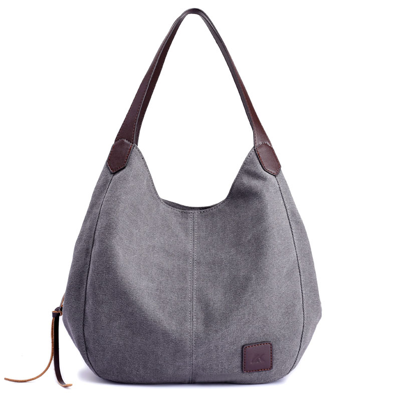 Women's Canvas Handbags Hobos Single Shoulder Bags Vintage Solid Multi-Pocket Ladies Tote Bolsas