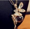 Plateado Oro caliente de Cristal Alas de Ángel Collar de Cadena Larga Collar Pendiente de La Mariposa Joyería Buen Regalo para Las Mujeres Shipping