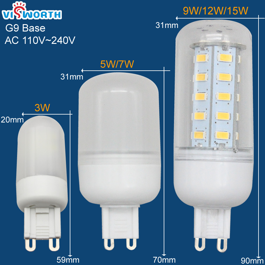 G9 LED Light SMD3014 3W LED Bulb SMD2835 5W 7W SMD5730 9W 12W 15W LED Lamp Crystal Corn Bulb 360 Degree Home Decoration Lighting e12 e14 e27 smd2835 led corn bulb 12w 16w led lampada spotlight 110v 220v home decoration lamp 360 degree spot light
