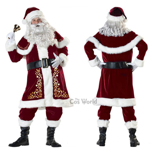 Mens Adult Santa Claus Father Christmas Costumes Festival Party Suit Xmas  Gift Uniform Outfit Cosplay Costumes - Mens Adult Santa Claus Father Christmas Costumes Festival Party Suit
