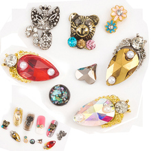 Pandahall 3D Nail Art Decorations DIY Glitter Rhinestones Animals Alloy Studs for Box