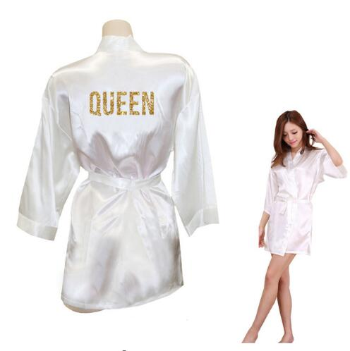 QUEEN Golden Glitter Print Kimono Robes Faux Silk Women Bachelorette Robes Men Gifts For Her Free Shipping(China)
