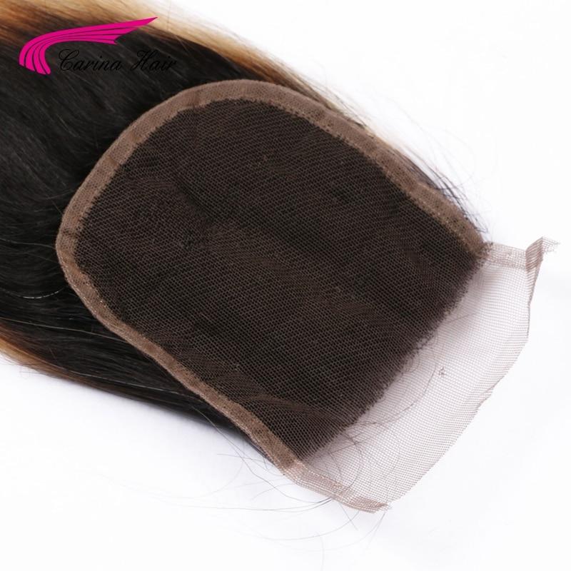 Carina Hair Ombre Color Brazilian Remy Human Straight 1b / 27 # 4 * 4 - Մարդու մազերը (սև) - Լուսանկար 5