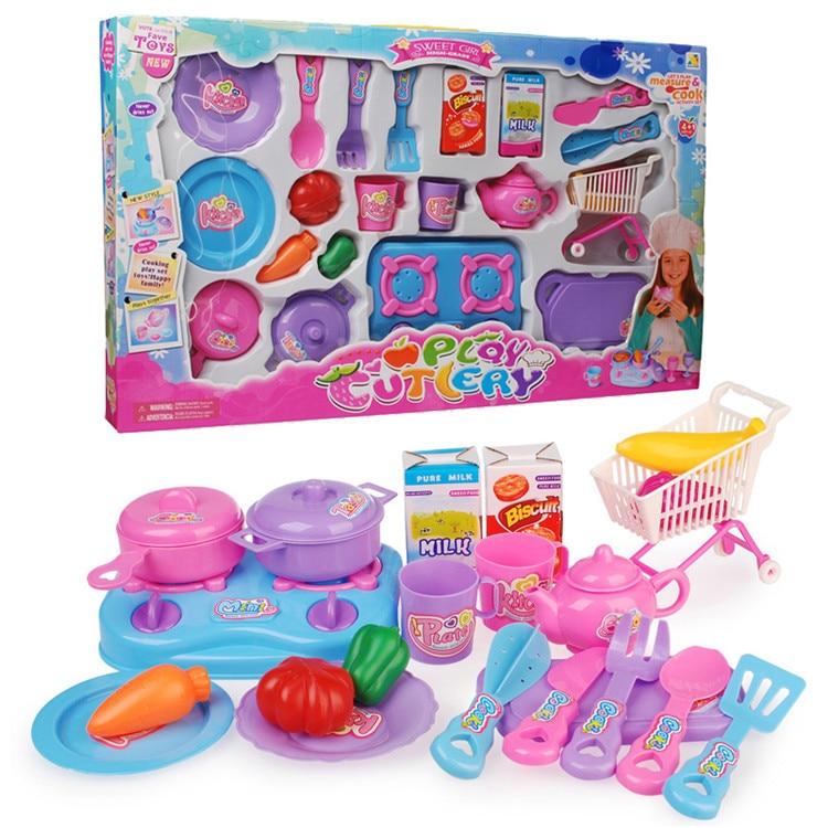 New 22pcs Set Kids Toys Kitchen Kitchen Cooking Utensil Set Plastic