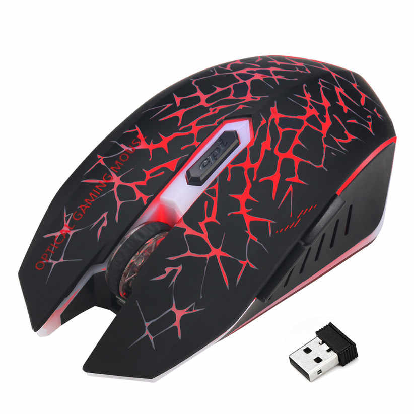 Free Shipping Rechargeable LED Backlit USB Optical Wireless Gaming Mouse Silent Ergonomic Mice For PC Laptop 80601 Drop Shipping
