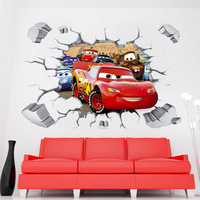 50pcs/ Pack 3D Cars Queen Mater Wall Stickers Decal Kids Boys Room Decor Mural Poster B418 Free Shipping