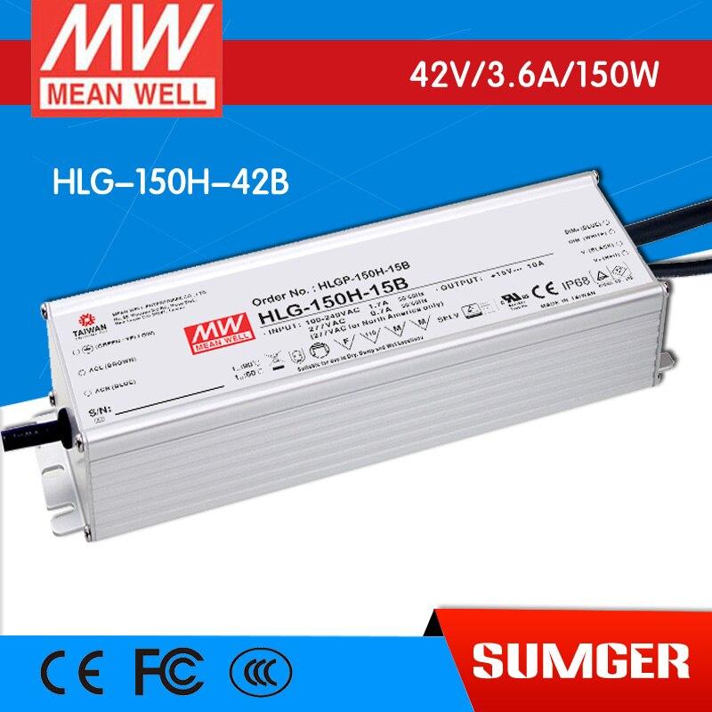 все цены на [BB]MEAN WELL original HLG-150H-42B 2Pcs 42V 3.6A meanwell HLG-150H 42V 151.2W Single Output LED Driver Power Supply B type онлайн