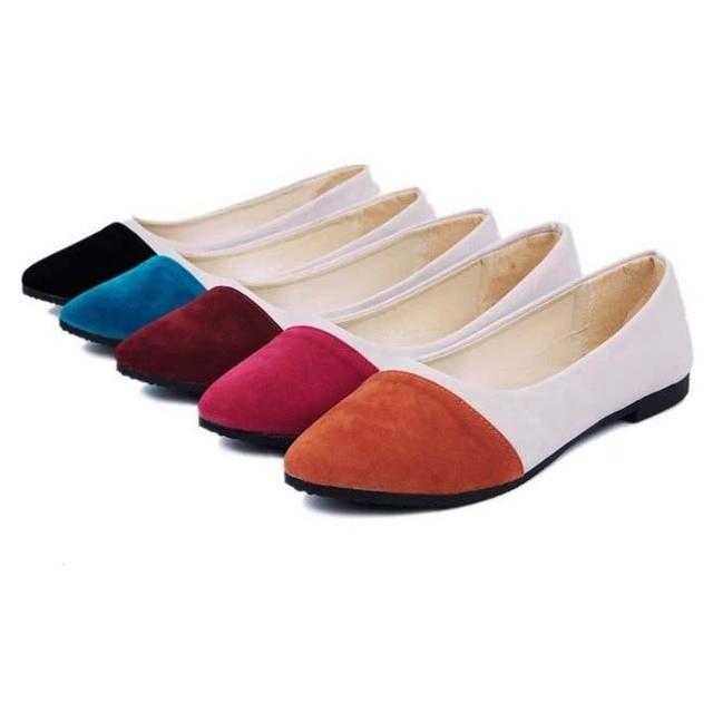 961f16a523247 2014 Fashion Patchwork Round Toe Slip-on Women Flats Plain Color Block Women  Casual Flat Shoes Ladies Cotton Fabric Ballet Flats