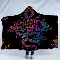 Dragon Totem Hooded Blanket for Adults Colorful Chinese Printed Sherpa Fleece Wearable Throw Blanket Microfiber