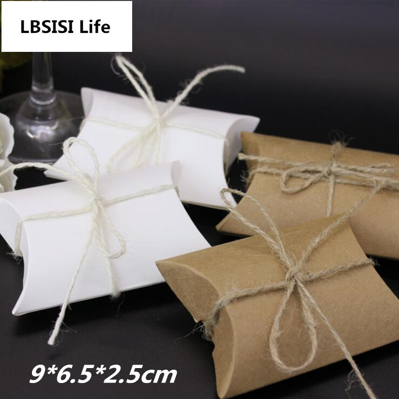 LBSISI Life 10pcs Gift Candy Box White Craft Pillow Shape Wedding Gift Box Party Candy Boxes Candy Bags Party Favor Supplies
