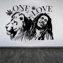 Marley Và Sư Tử Reggae Vinyl Decal Dán Tường Một Tình Yêu Người Yêu Âm Nhạc Nhà Phòng Khách Phòng Ngủ Trang Trí 2YY28