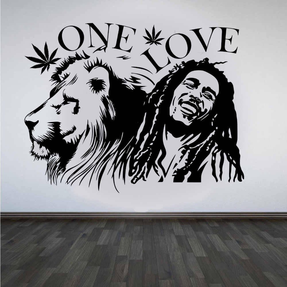 Image 1 - Wall Sticker Bob Marley Lion Zion ONE Love Cannabis Quote Detachable Vinyl Poster Home Art Design Decoration 2YY28-in Wall Stickers from Home & Garden