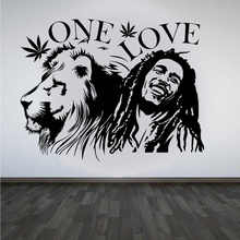 Wall Sticker Bob Marley Lion Zion ONE Love Cannabis Quote Detachable Vinyl Poster Home Art Design Decoration 2YY28