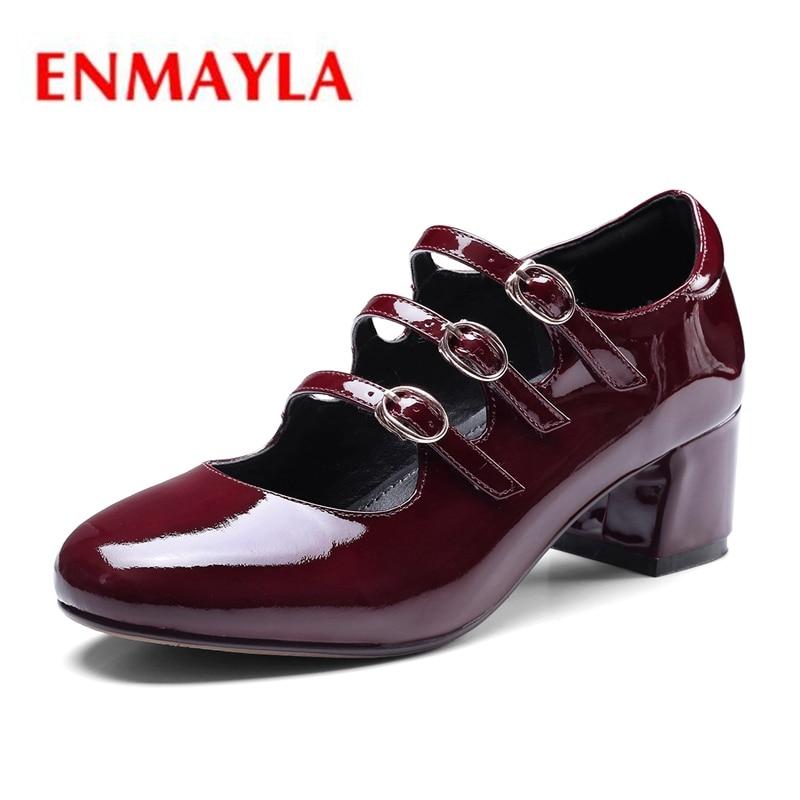 ENMAYLA пояса из натуральной кожи круглый носок повседневное туфли с ремешком и пряжкой квадратный каблук zapatos mujer Tacon женская обувь Size34-39 ZYL2034
