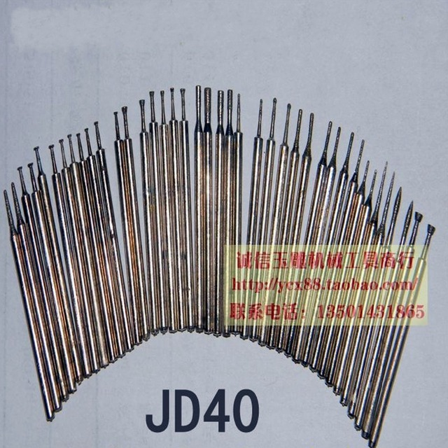 40 PCS Dental Carved Jade Suit Engraving Grinding Diamond Abrasive Burrs Tips Shank 2.35mm